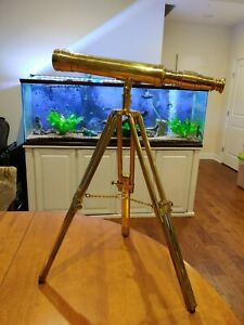 Executive Nautical Brass Telescope 19 Tripod Discover The World In Box Complete