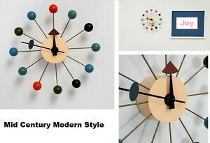 Mid Century Modern Style Multi Color Wood Wall Clock George Nelson