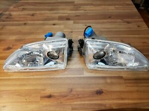 Apc 1994 1998 Ford Mustang Projector Head Lamps Chrome Housing Used