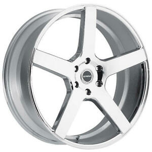 4 20 Staggered Strada Wheels Perfetto Chrome Rims b3