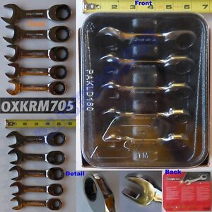 New Snap On 12 Pts Metric Stubby Combination Ratchet Wrench 5 Pcs Set Oxkrm705