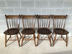 Nichols Stone Arrow Back Hitchcock Style Side Chairs Set Of 4