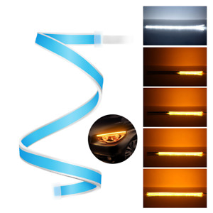 1pcs 60cm Led Drl Slim Amber Sequential Flexible Turn Signal Strip For Headlight