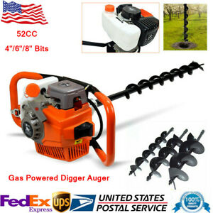 52cc Gas Powered Post Hole Digger Auger Borer Ground Fence Drill 4 6 8 Bits