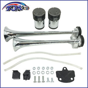 New Loud 12v Dual Trumpet Chrome Train Air Horn Compressors Kit For Truck Boat