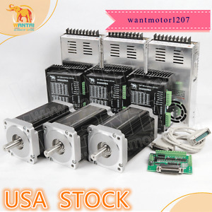 Us de Ship Wantai 3axis Nema34 Stepper Motor Dual Shaft 1600oz 3 5a driver Cnc