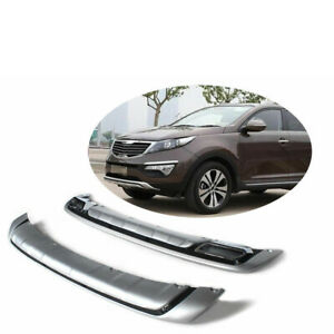 For Kia Sportage 2011 2014 Chrome Protecter Plate Front Rear Bumper Spoiler Flap