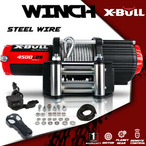X Bull4500lbs Electric Winch 12v Steel Cable Utv Atv Recovery Winch Offroad 4wd