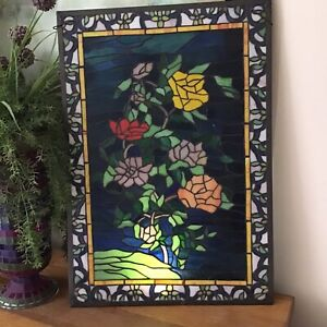 Vintage Stained Glass Window Wall Panel Flower Floral Rose 17 X 26