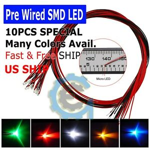 Dc 9 12v Pre wired Smd Led Diode 0402 0603 0805 1206 Micro Mini White Light Lamp