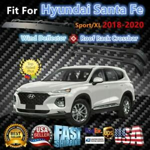 Top Roof Rack Fits Hyundai Santa Fe 2018 2020 Luggage Crossbar wind Deflector