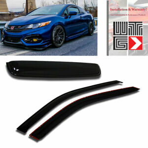 Mad 3pc Window Sunroof Visor Shade Rain Guard For 2012 2015 Honda Civic Coupe