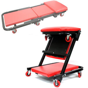 2 In 1 Creeper Fordable Seat Rolling Chair Mechanics Work Stool Garage Shop