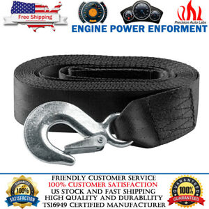 2 X 20 Heavy Duty Recovery Winch Tow Strap Sling Hook Webbing Rope Chain Towing
