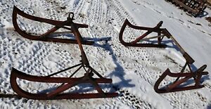 Primitive Set Of 4 Antique Farm Sled Sleigh Buggy Wood Iron Runners 44 Winter