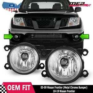 Fits 05 19 Nissan Frontier Pair Factory Bumper Replacement Fog Lights Clear Lens