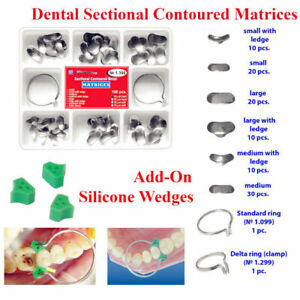 Dental Sectional Contoured Matrices Matrix Ring Delta 100 Pcs 40 Add on Wedges