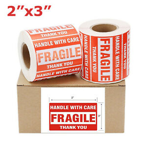 2 4 6 8 10 20 Rolls Fragile Stickers 2 x3 Handle With Care Thank You Label New