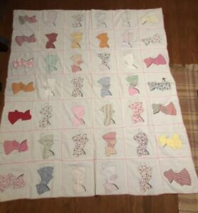Vintage Hand Sewn Quilt Top Sun Bonnet 74 X 62 Hand Sewn Quilted Stitched
