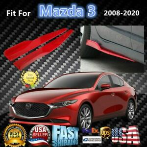 Fits Mazda 3 2008 2020 Red Side Skirts Splitters Spoiler Diffuser Wings
