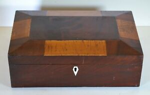 Antique Shaker Inlaid Panel Burl Wood Document Sewing Box Jewelry