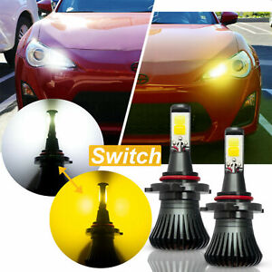 Led Light Dual Color 9005 9006 White Yellow Cob Bulb Kit Fog Light Bulbs 2pcs