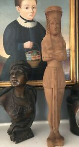 Antique Vintage Wood Carved Egyptian Ships Figurehead Statue