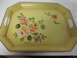 Yellow Toleware Gallery Tray W Handles Signed Hand Painted 17 X 14 X 1 1 8
