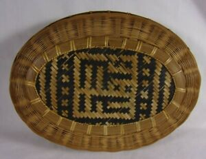 1860s Victorian Sewing Wicker Basket Sewin Box Inlaid Weave Design Beautiful