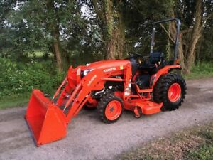 2017 Kubota B2650 Tractor La534 Loader 4wd Hydro 72 Belly Mower Only 170 Hours