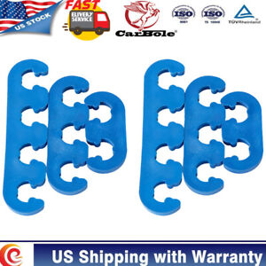 7 8mm Blue Plastic Spark Plug Wire Separators Dividers Looms Fits For Chevy Ford