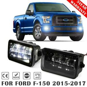 Pair Led Fog Lights Rectangle Front Bumper Driving Lamp For Ford F 150 2015 2017