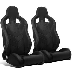 2 X Universal Black Pvc Leather Left Right Jdm Sport Racing Bucket Seats Sliders