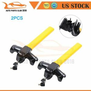 New Arrival Universal Auto Car Anti theft Security 2 Rotary Steering Wheel Lock