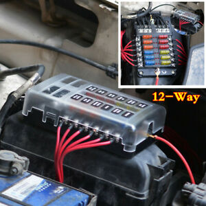 Waterproof 12 Way Blade Fuse Box Block Holder W Led Indicator For Car Marine