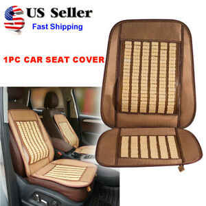 1x Bamboo Front Car Seat Cover Summer Cool Back Support Waist Massage Us