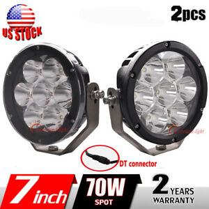 2x 7inch 70w Round Led Work Light Spot Driving Offroad Boat Atv Suv Truck Lamp