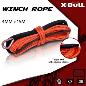 X Bull Winch Synthetic Rope Line 8000lbs 1 6 X50 Recovery Cable Orange