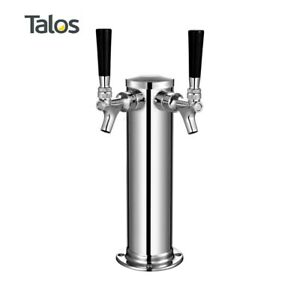 Talos Draft Beer Kegerator Tower Stainless Steel Beer 3 Column 2 Tap faucet