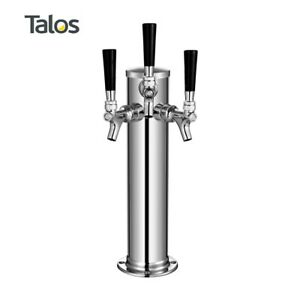 Talos Draft Beer Kegerator Tower Stainless Steel Beer 3 Column 3 Tap faucet
