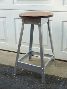 Vintage Industrial Wood Metal Stool Shop Garage Man Cave Steampunk