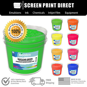 Ecotex Fluorescent Water Based Ink For Screen Printing All Sizes 9 Colors