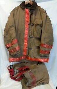 Globe Firefighter Suit Gear Coat Size 44 Pants 34 30 Used Worn Vintage Set Usa