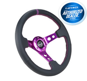 New Nrg Deep Dish Steering Wheel 350mm Black Leather Purple Center Rst 006pp