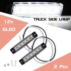 2pcs White 6 Led 12v Car Side Marker Indicator Light Waterproof Truck Parts