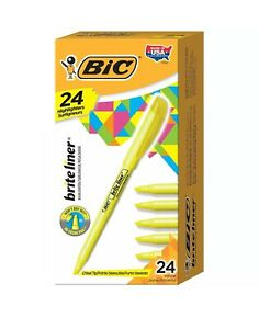 New 24 Yellow Bic Brite Liner Highlighter Chisel Tip 24 count
