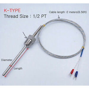K Type Thermocouple Temperature Probe Sensor D 4 8 Pt1 2 2m 6 56ft Cable