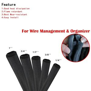 Wire Management Tight Weave Wrap Around Cable Sleeve Split Braided Sleeving Lot