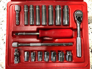 Mac Tools 19 Pc Sae Midget Economy Socket Set 6 Pt Sm196br 1 4 Drive