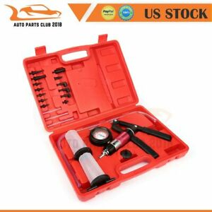 Brake Fluid Bleeder Hand Held Vacuum And Pressure Pump Tester Kit 21 Pcs